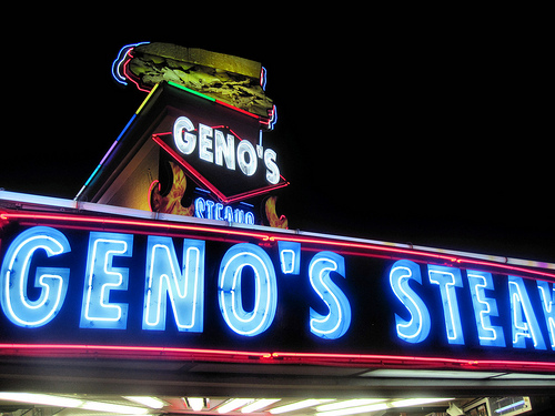 The neon glow of Geno's