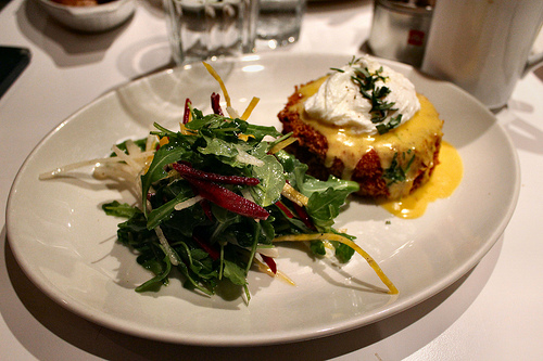 Salmon cake w/ poached egg and hollandaise