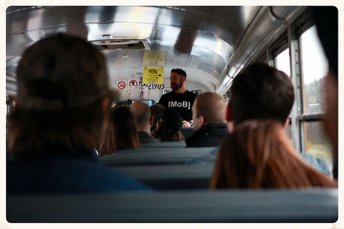 Marc Plante teaching a bus full of people how to brew beer.