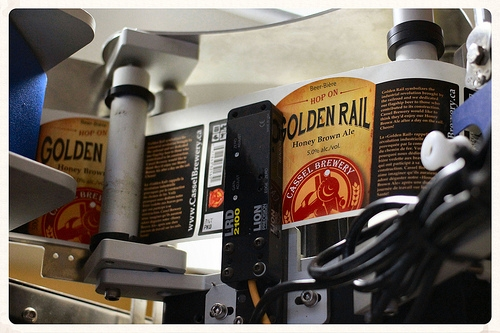 Bottle labels from Cassel Brewery's Golden Rail Honey Brown Ale