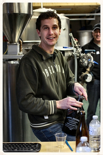 Ben from Cassel Brewery opening a growler