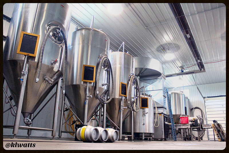 The shiny tanks at Barley Days Brewery - Picton, ON